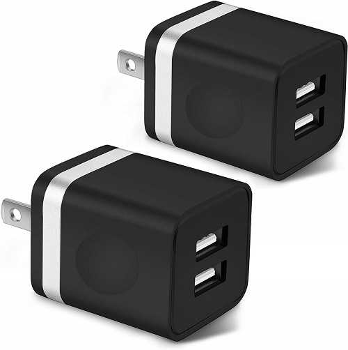ARCCRA USB Wall Charger, 2-Pack 2.1A/5V Dual Port USB Cube Charger Plug Power Adapter Charging Block Compatible with Phone Xs/Xs Max/XR/X, 8/7/6 Plus, Pad, Samsung, LG, Moto, Tablets, Android Phone