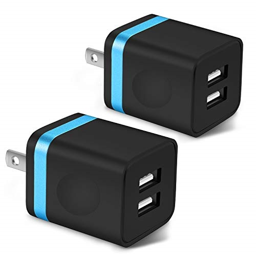 ARCCRA USB Wall Charger, 2-Pack 2.1A/5V Dual Port Power USB Plug Adapter Charging Block Compatible with Phone Xs Max/Xs/XR/X/8/7/6 Plus/SE, Samsung Galaxy S8/S7/S6, LG, Moto, Tablets, Android Phone