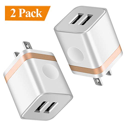 ARCCRA USB Wall Charger, Dual Port USB Charging Block Power Adapter Plug Cube Compatible with Phone 8/7/6S Plus SE/5S X XR Xs Max, Samsung, Google, Android Cell Phones (2-Pack)