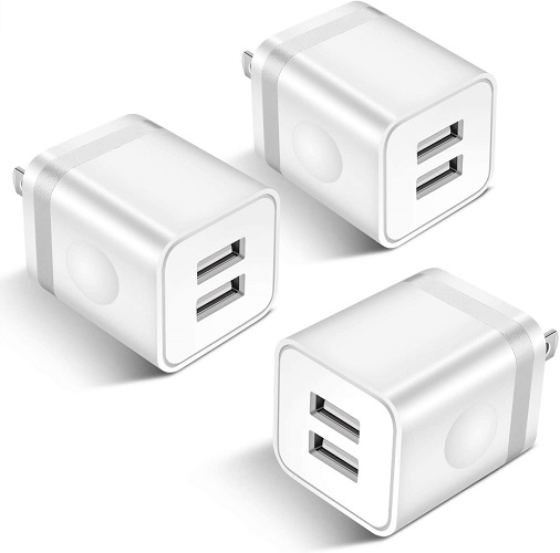 ARCCRA USB Wall Charger, 3-Pack 2.1A Dual Port USB Plug Power Adapter Charging Block Cube Compatible with Phone Xs Max/Xs/XR/X/8/7/6S/6 Plus/SE, Samsung, LG, Tablets, Android Phone