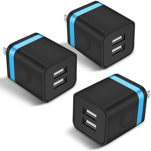 ARCCRA USB Wall Charger, 3-Pack 2.1A Dual Port USB Power Adapter Wall Charger Plug Charging Block Cube Compatible with Phone Xs Max/Xs/XR/X/8/7/6 Plus/5S/4S, Samsung, LG, Kindle, Android Phone -Black