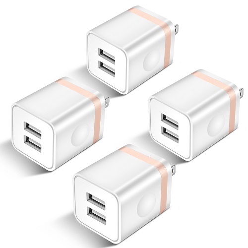 USB Wall Charger, ARCCRA 4-Pack 2.1Amp 2-Port USB Plug Cube Power Adapter Charger Block Compatible with iPhone 11/11 Pro/11 Pro Max/Xs/XR/X/8/7/6 Plus/SE, Samsung, LG, Moto, Android Phone -Upgraded
